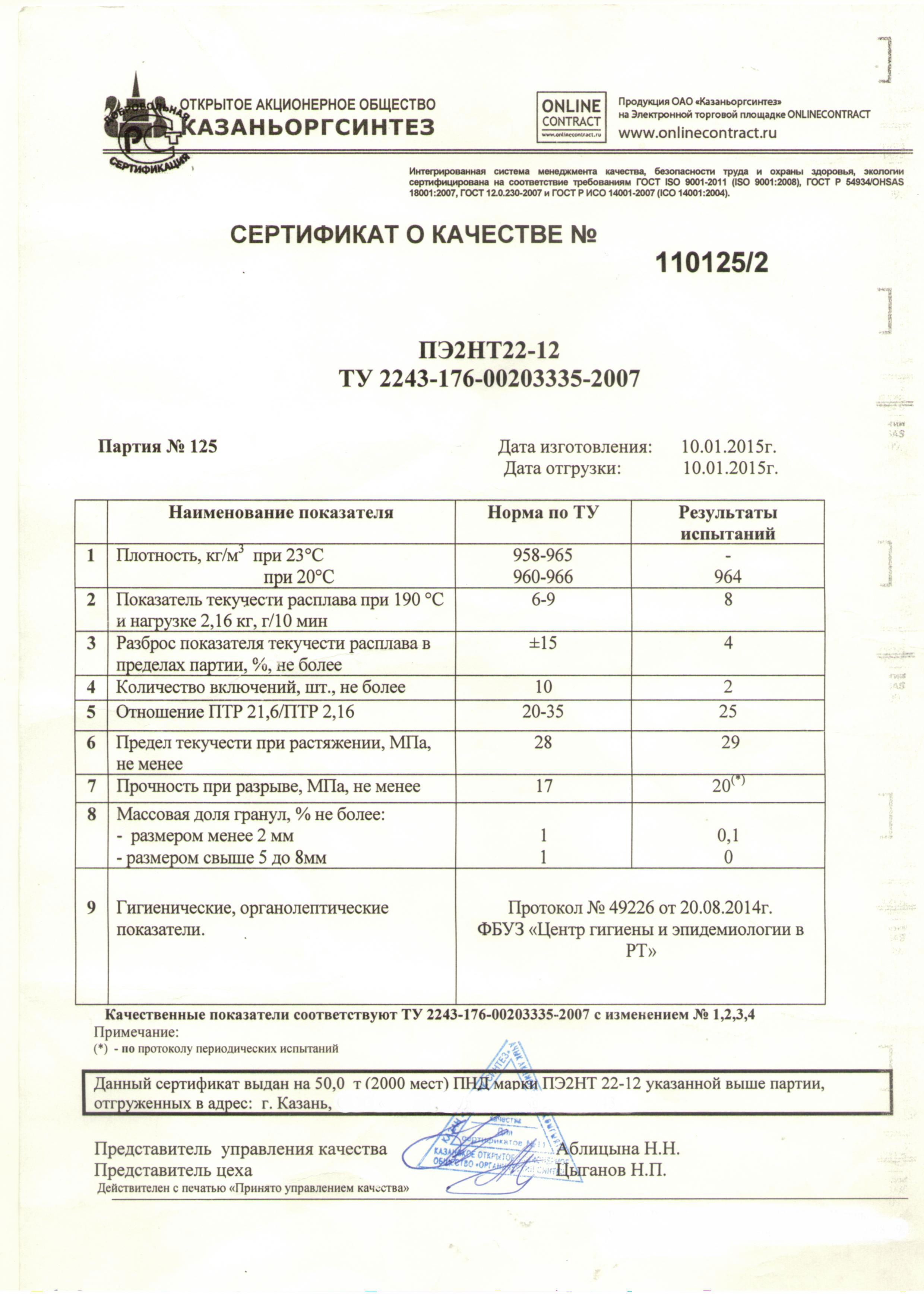 Полиэтилен ПЭ2НТ22-12